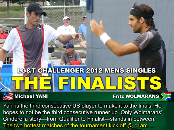 Yani is the third consecutive US player to make it to the finals. He hopes to not be the third consecutive runner up. Only Wolmarans' Cinderella story—from Qualifier to Finalist—stands in between. The two hottest matches of the tournament kick off @ 11am.