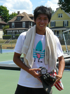 Alex Tsai after practice at on the newly resurfaced courts